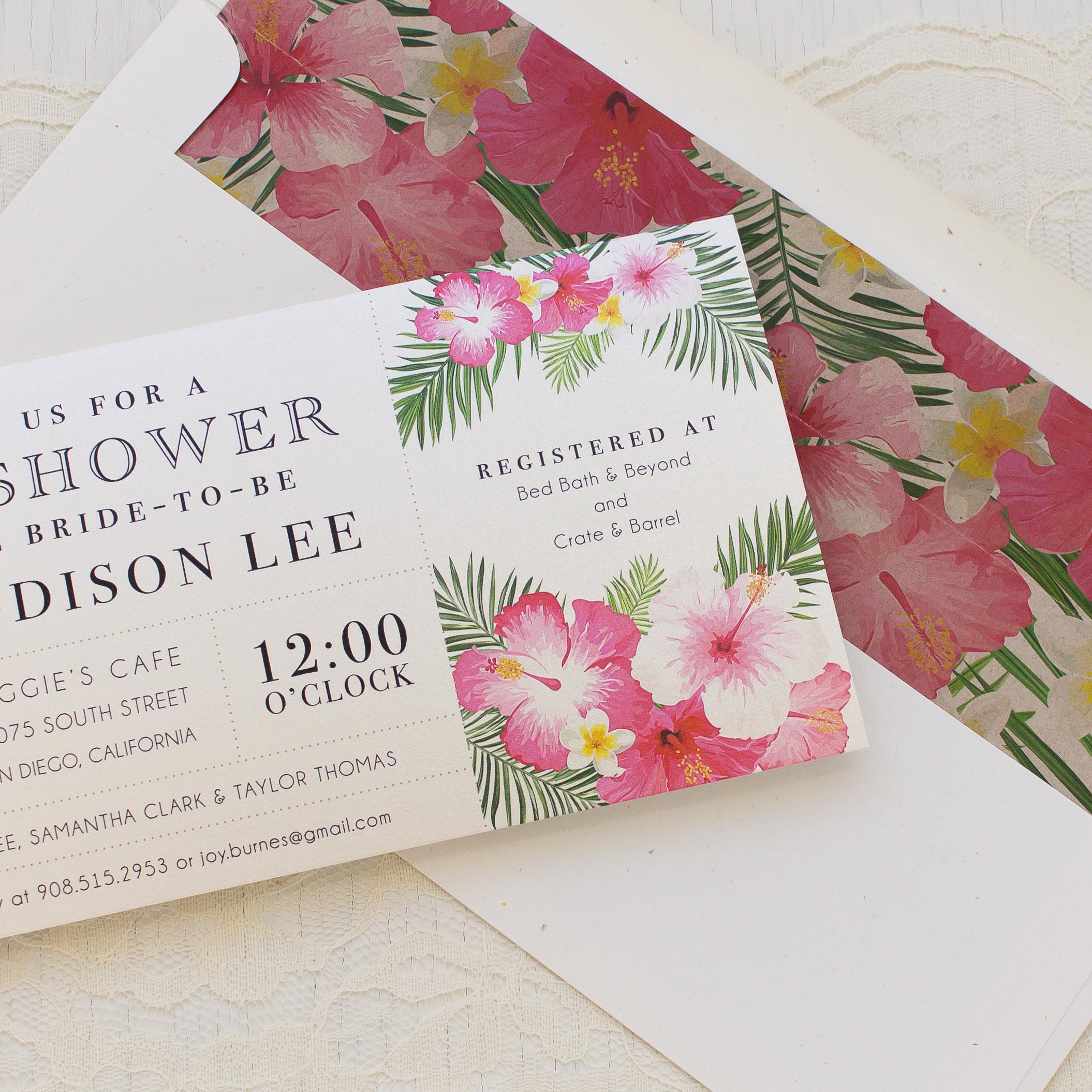 Bright Tropical Bridal Shower Invitations Beacon Lane