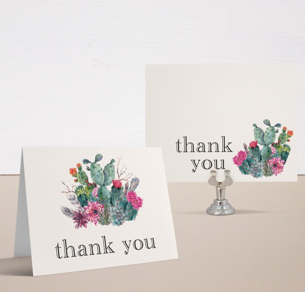 Desert Blooms Bridal Shower Thank You Cards