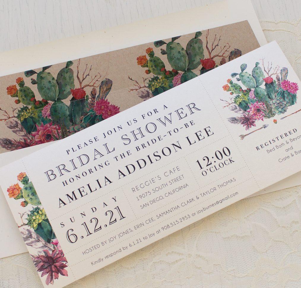 Desert Blooms Bridal Shower Invitations