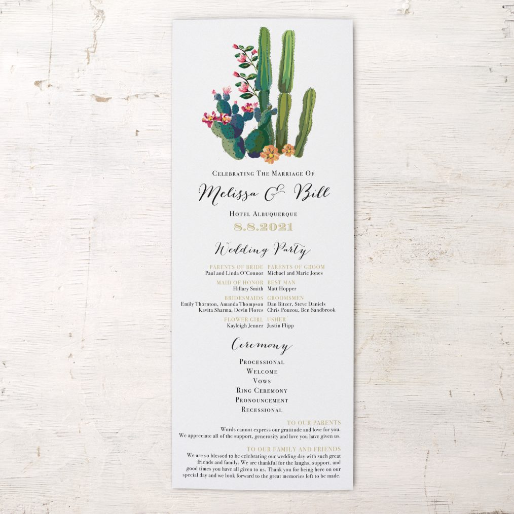 Desert Love Flat Ceremony Programs