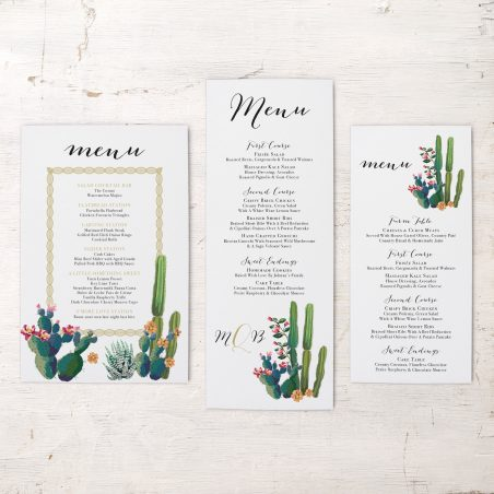Desert Love Flat Menu Cards