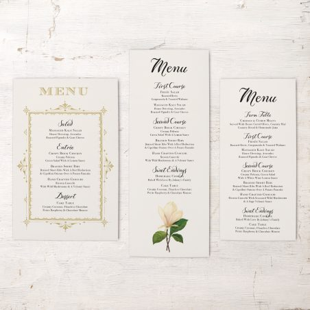 Sweet Magnolia Flat Menu Cards