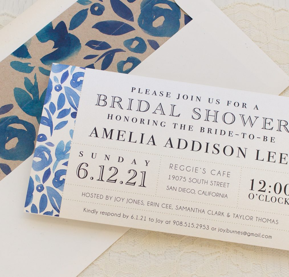 Floral Blues Bridal Shower Invitations
