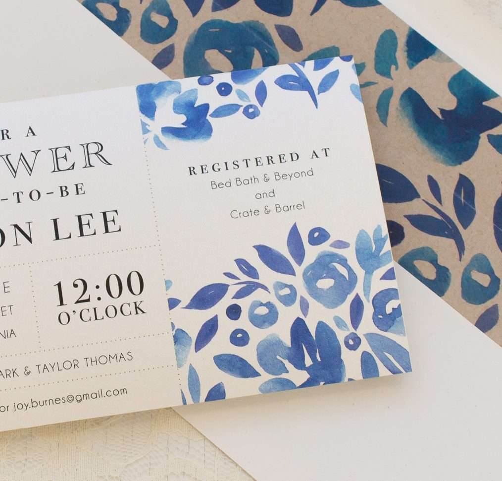 Floral Blues Bridal Shower Invitations