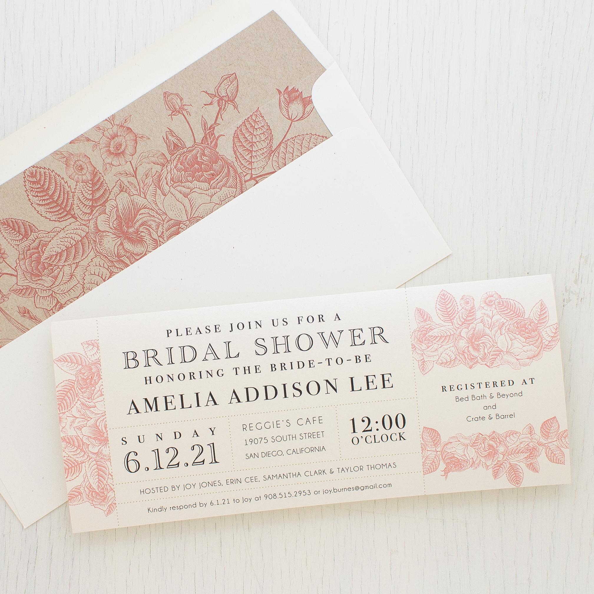Garden Floral Bridal Shower Invitations