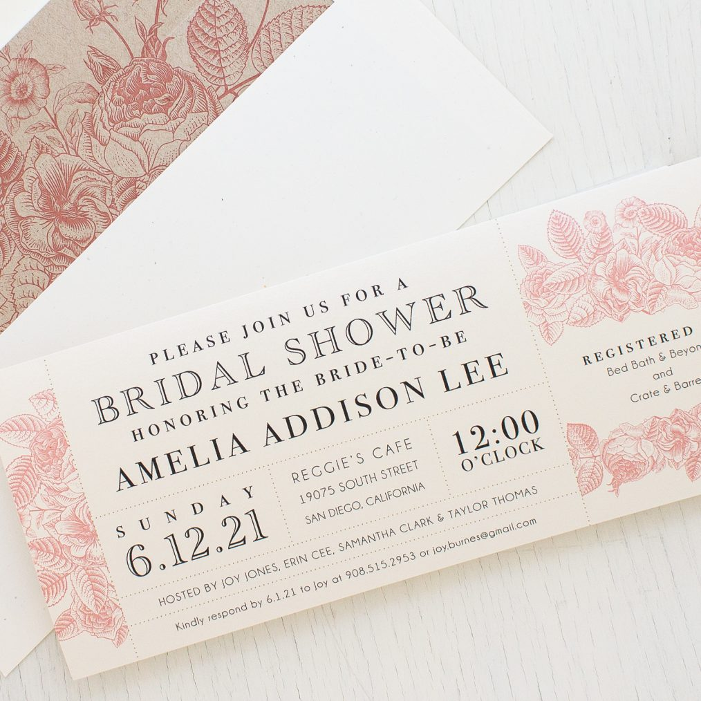Garden Floral Bridal Shower Invitations