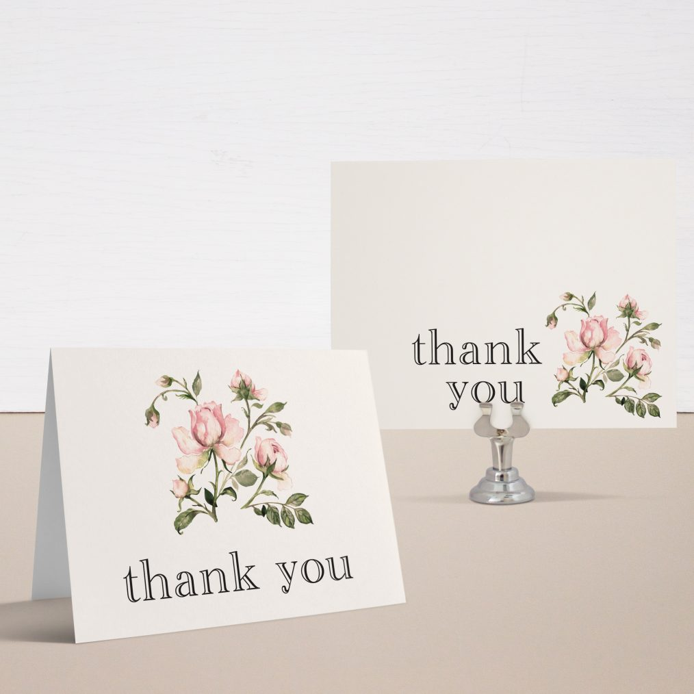 Garden Roses Bridal Shower Thank You Cards