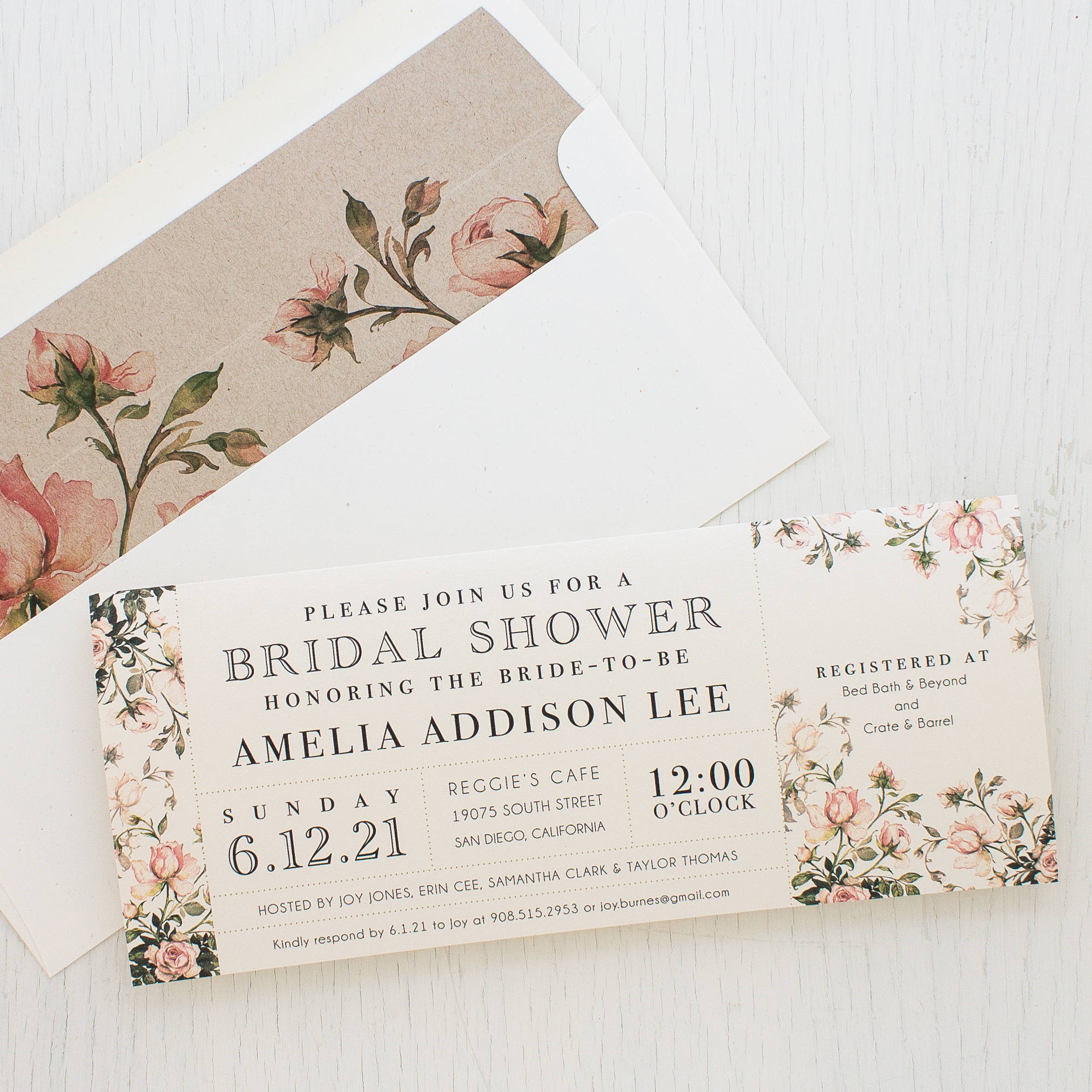 Garden Roses Bridal Shower Invitations | Beacon Lane