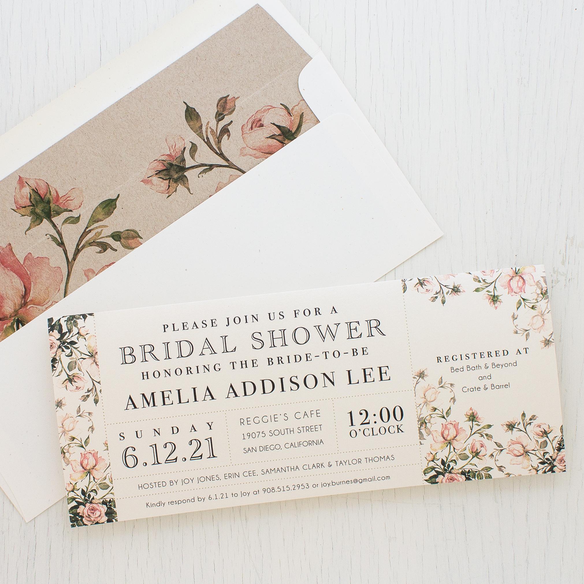 Wedding Party Invitations: Garden Roses Customizable Bridal Shower Invites
