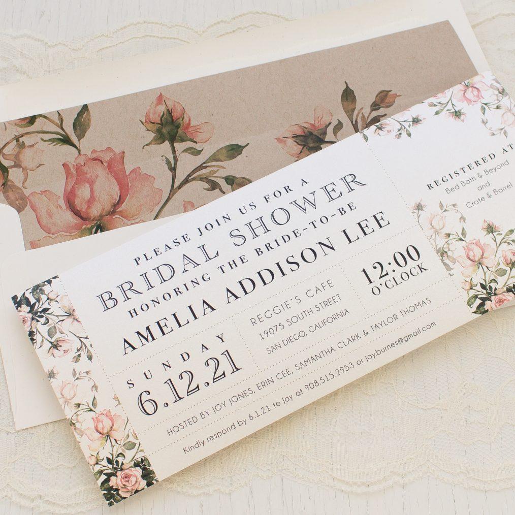 Garden Roses Bridal Shower Invitations