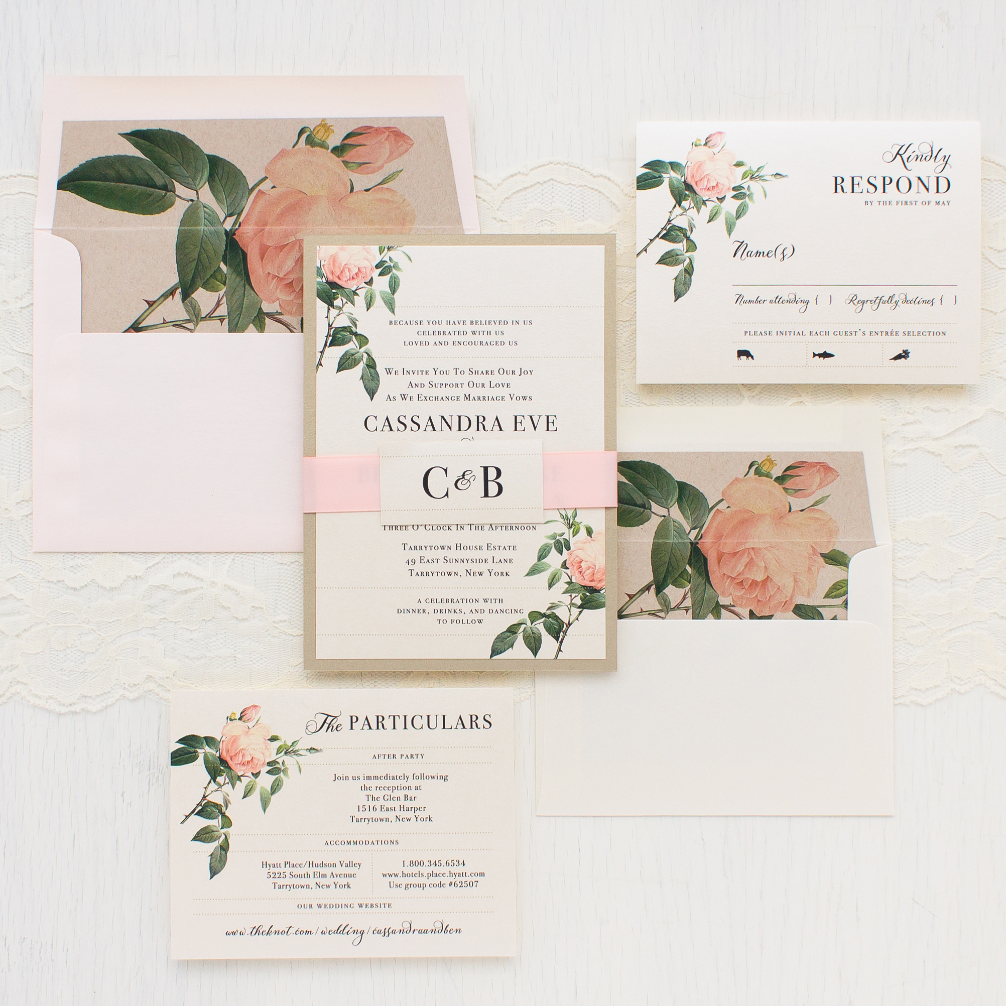 Ivory Blush Floral Customizable Wedding Invitations Beacon Lane