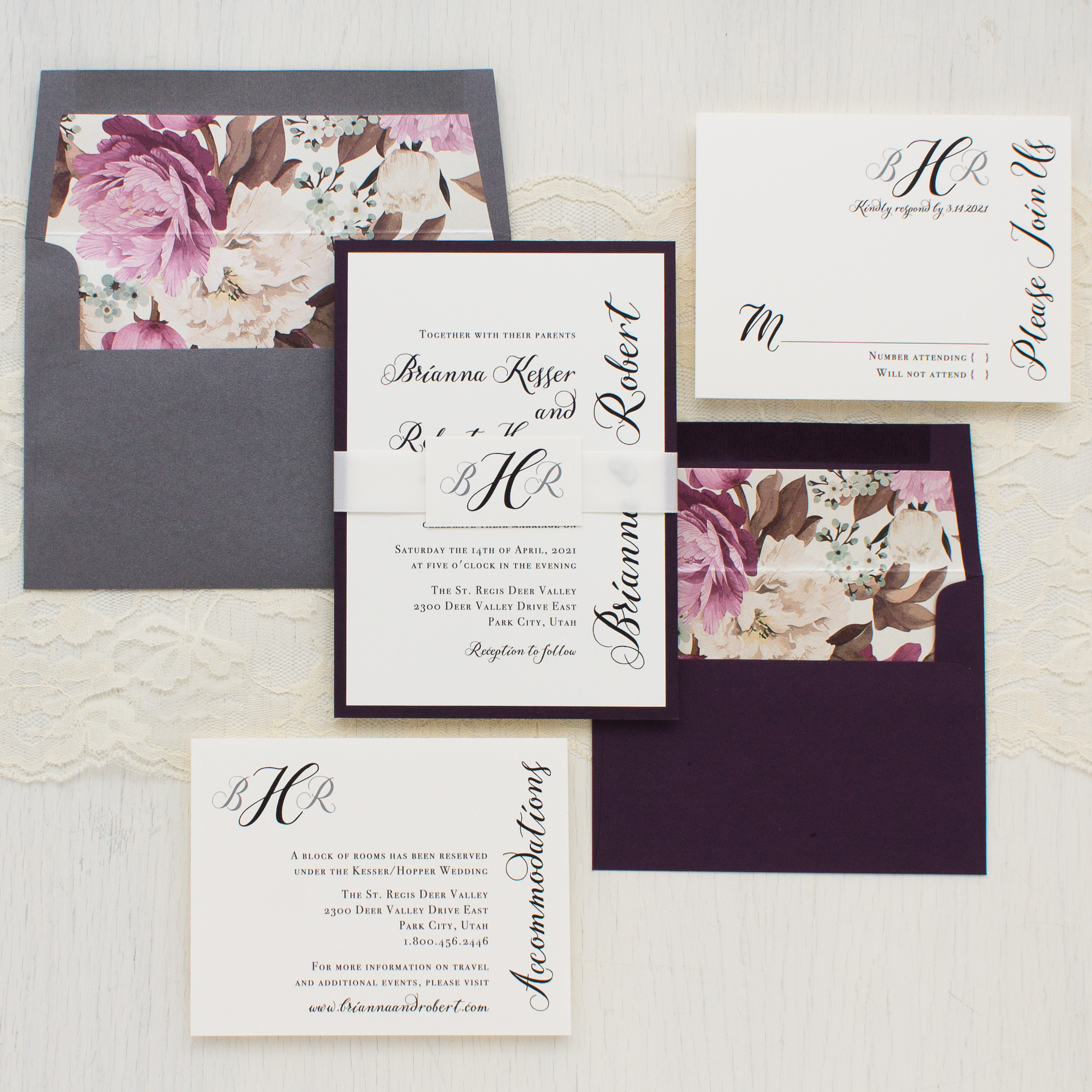 Simple calligraphy customizable modern wedding invitations