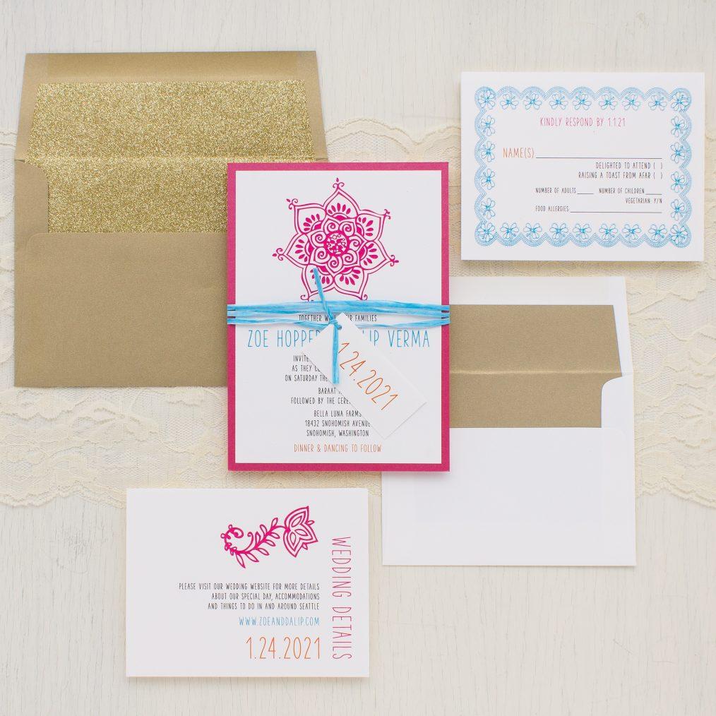 Gold Henna Wedding Invitations