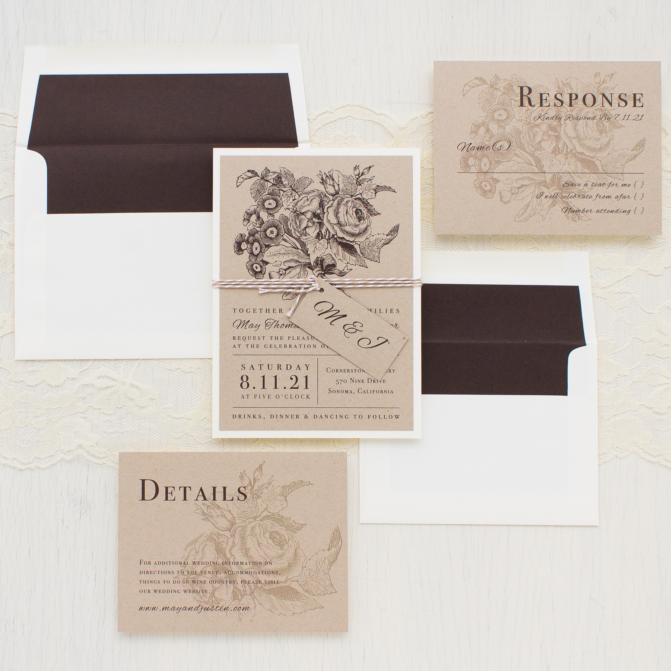Rustic Floral Customizable Brown & Ivory Wedding Invitations ...