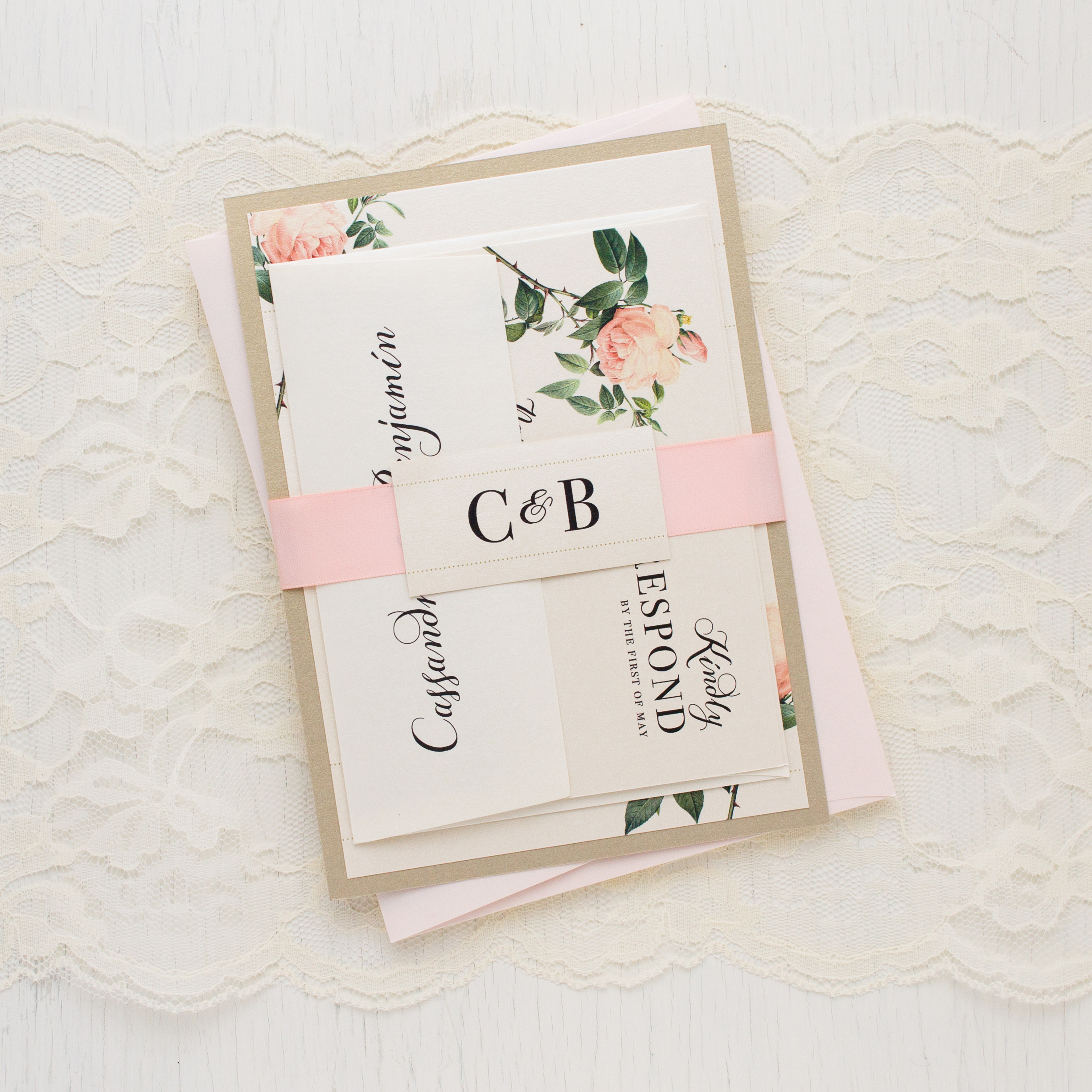 Ivory Blush Floral Customizable Wedding Invitations – Floral Wedding Invitations