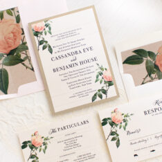 Ivory & Blush Floral Wedding Invitations
