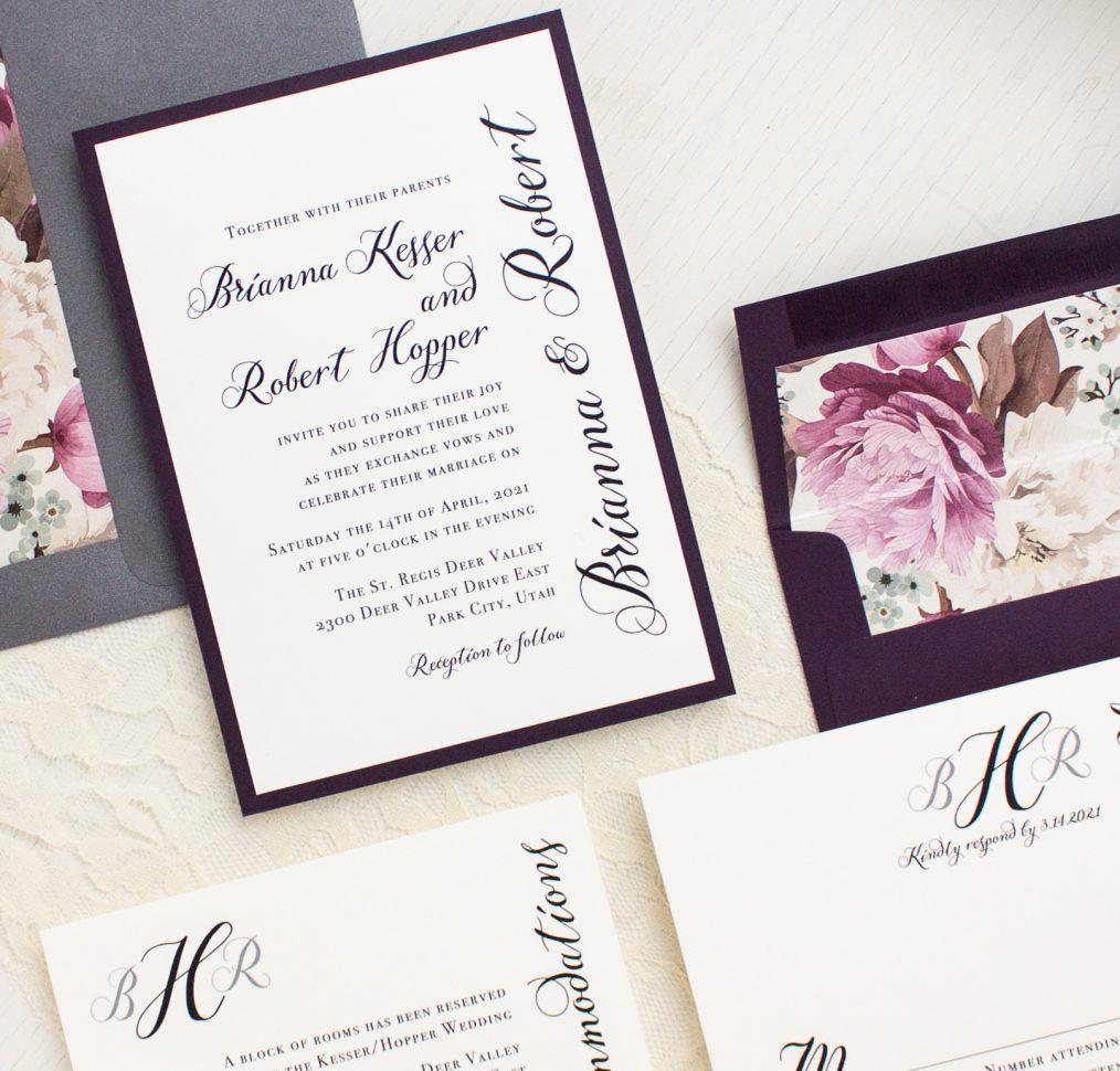Simple Calligraphy Wedding Invitations