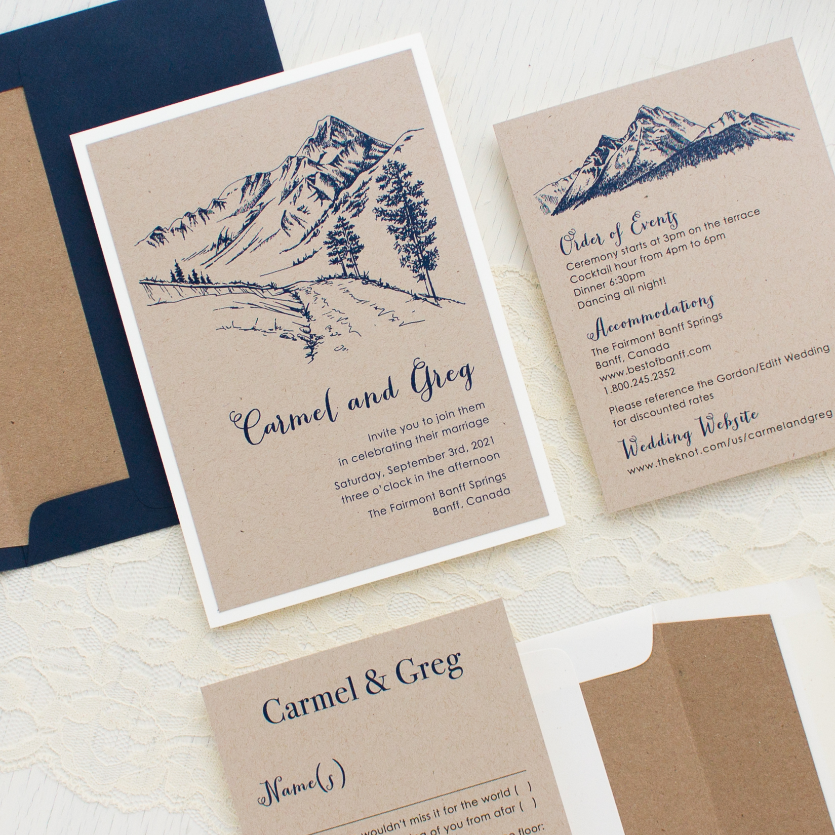 Rustic Mountain Customizable Vintage Wedding Invitations | Beacon Lane