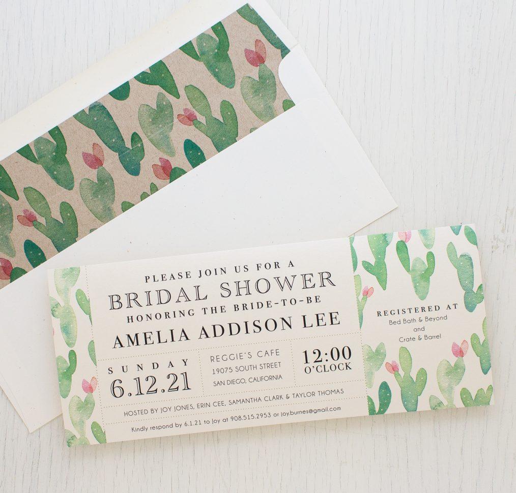 Mint Cactus Bridal Shower Invitations