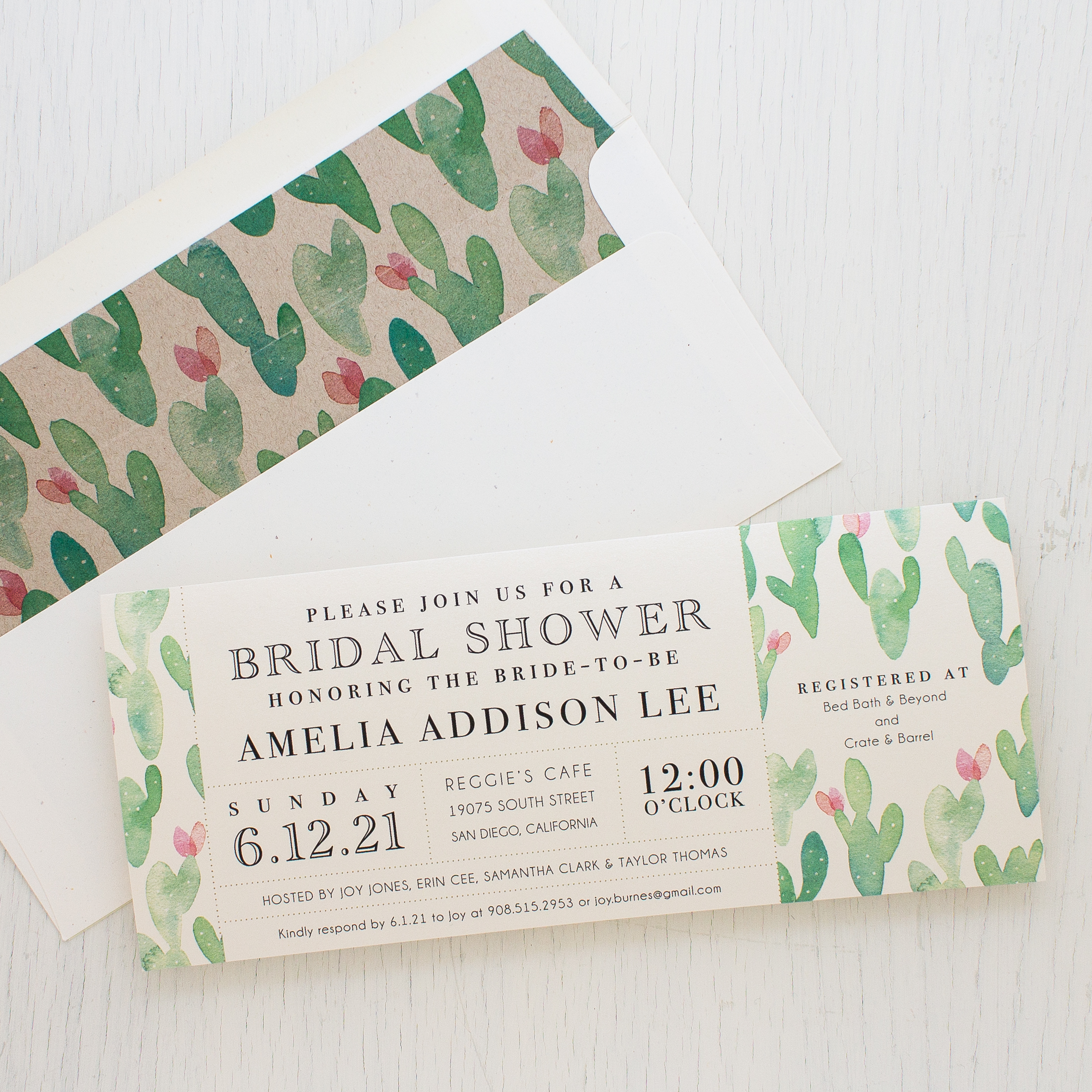 Mint Cactus Bridal Shower Invitations