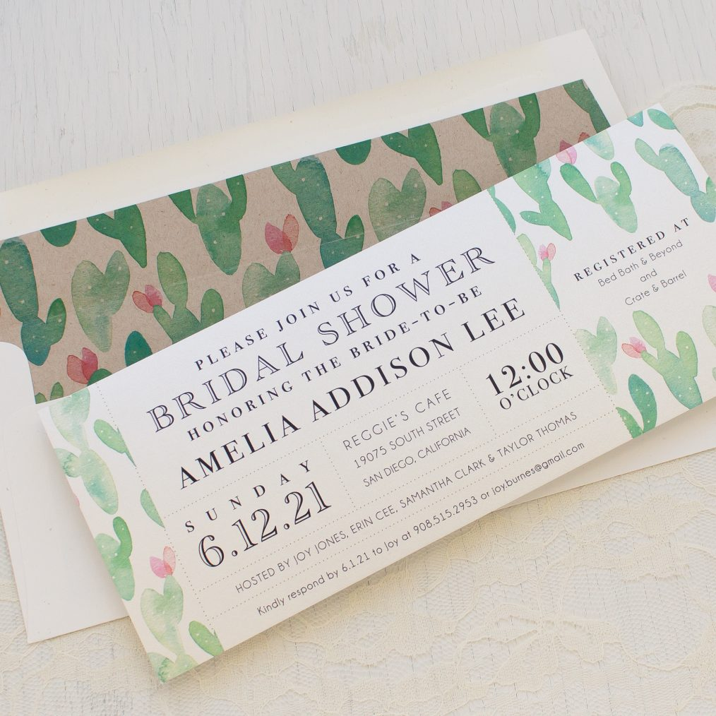 Mint Cactus Bridal Shower Invitation