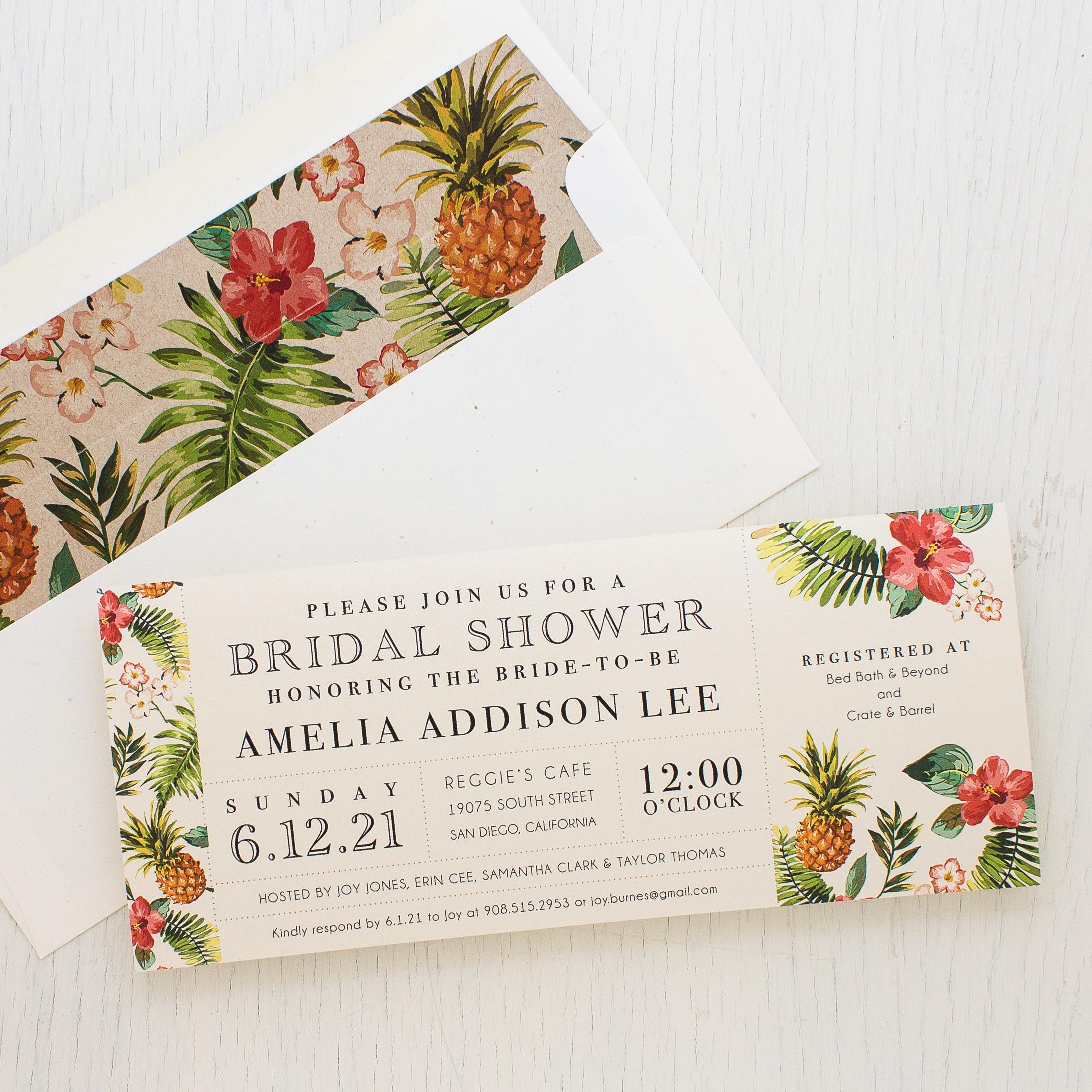 Pineapple Paradise Bridal Shower Invitations Beacon Lane