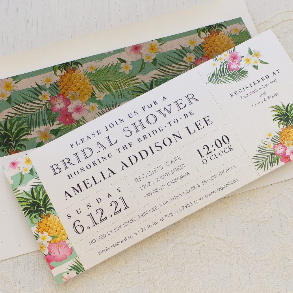 Pineapple Party Bridal Shower Invitations