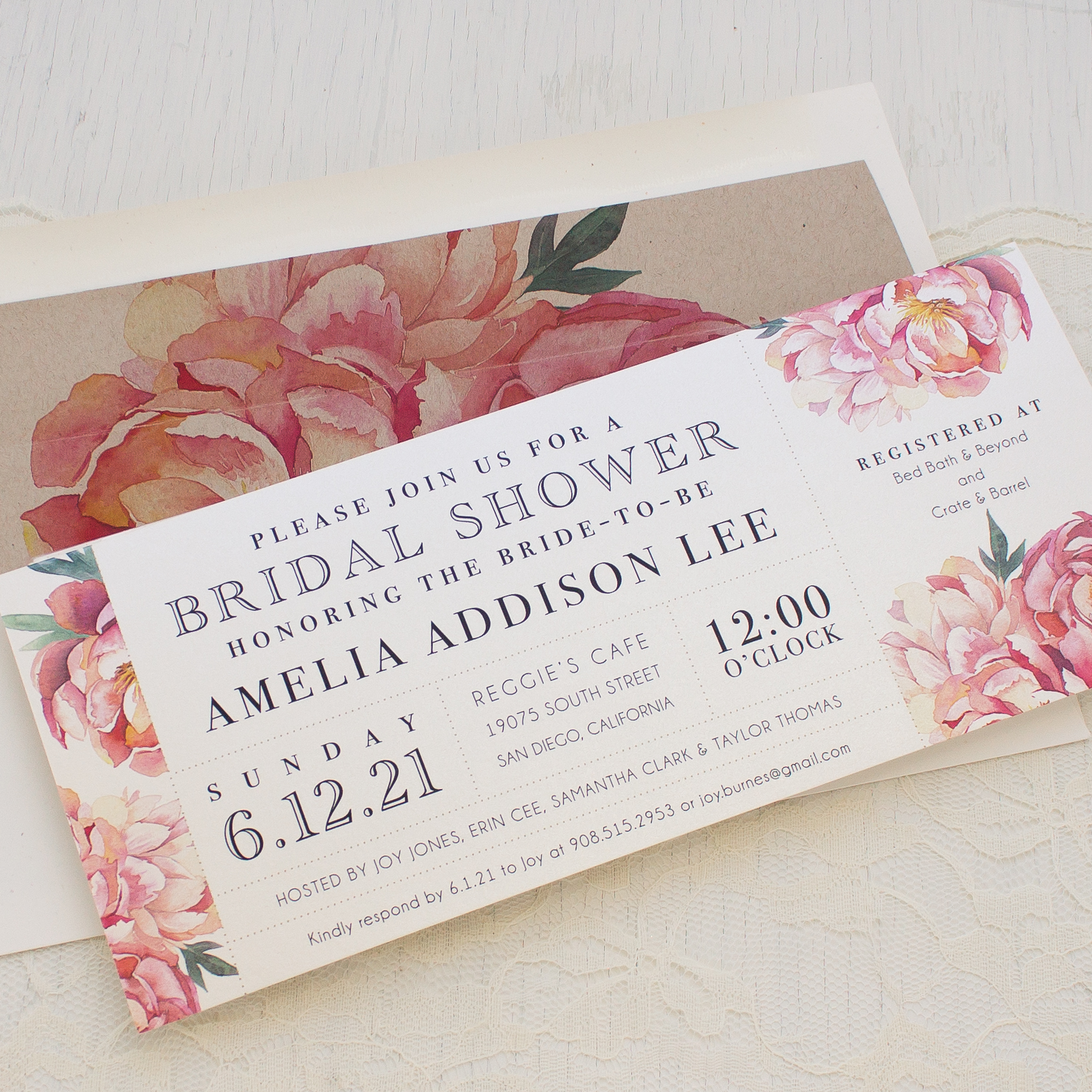 pink peonies bridal shower invitations