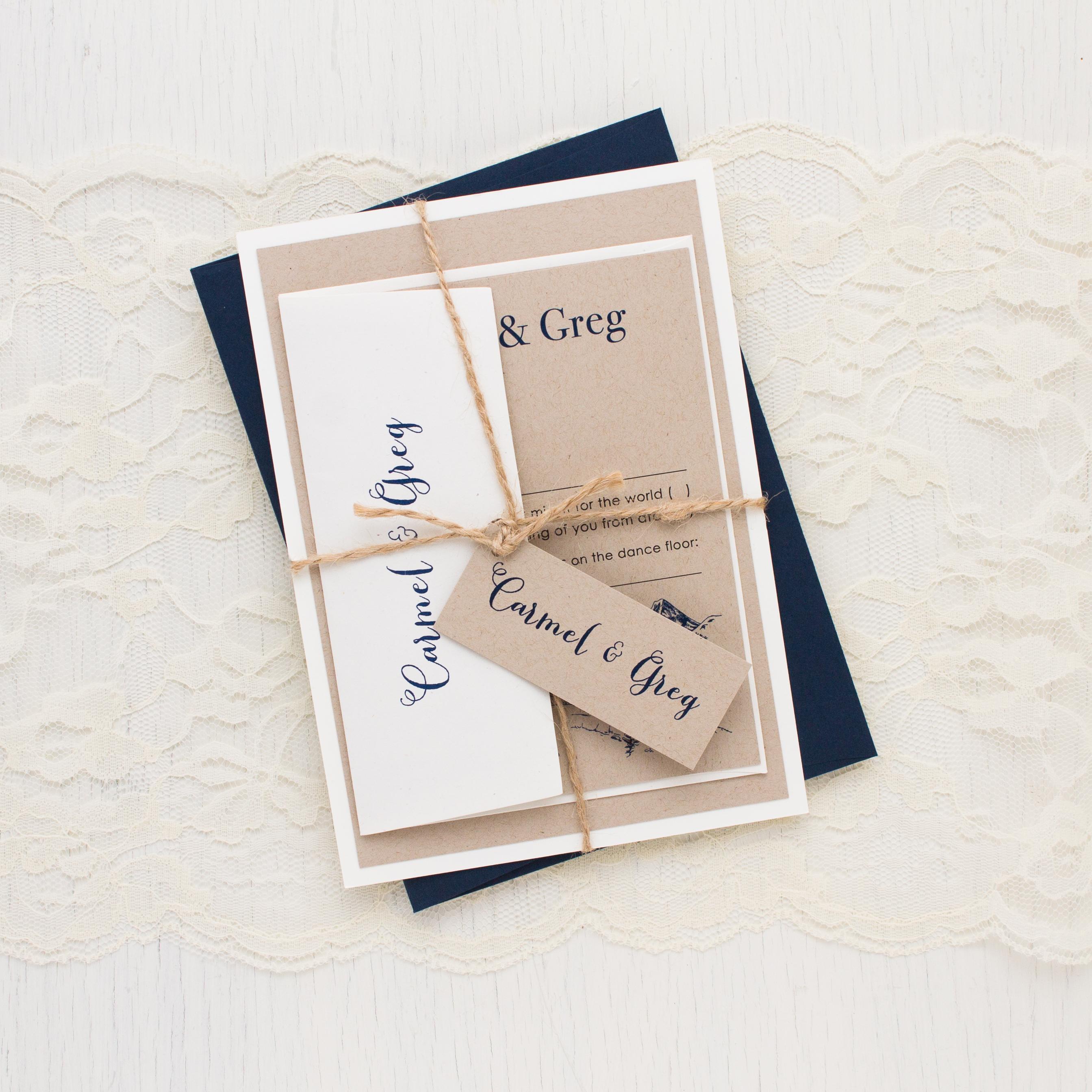 Rustic Mountain Customizable Vintage Wedding Invitations | Beacon Lane