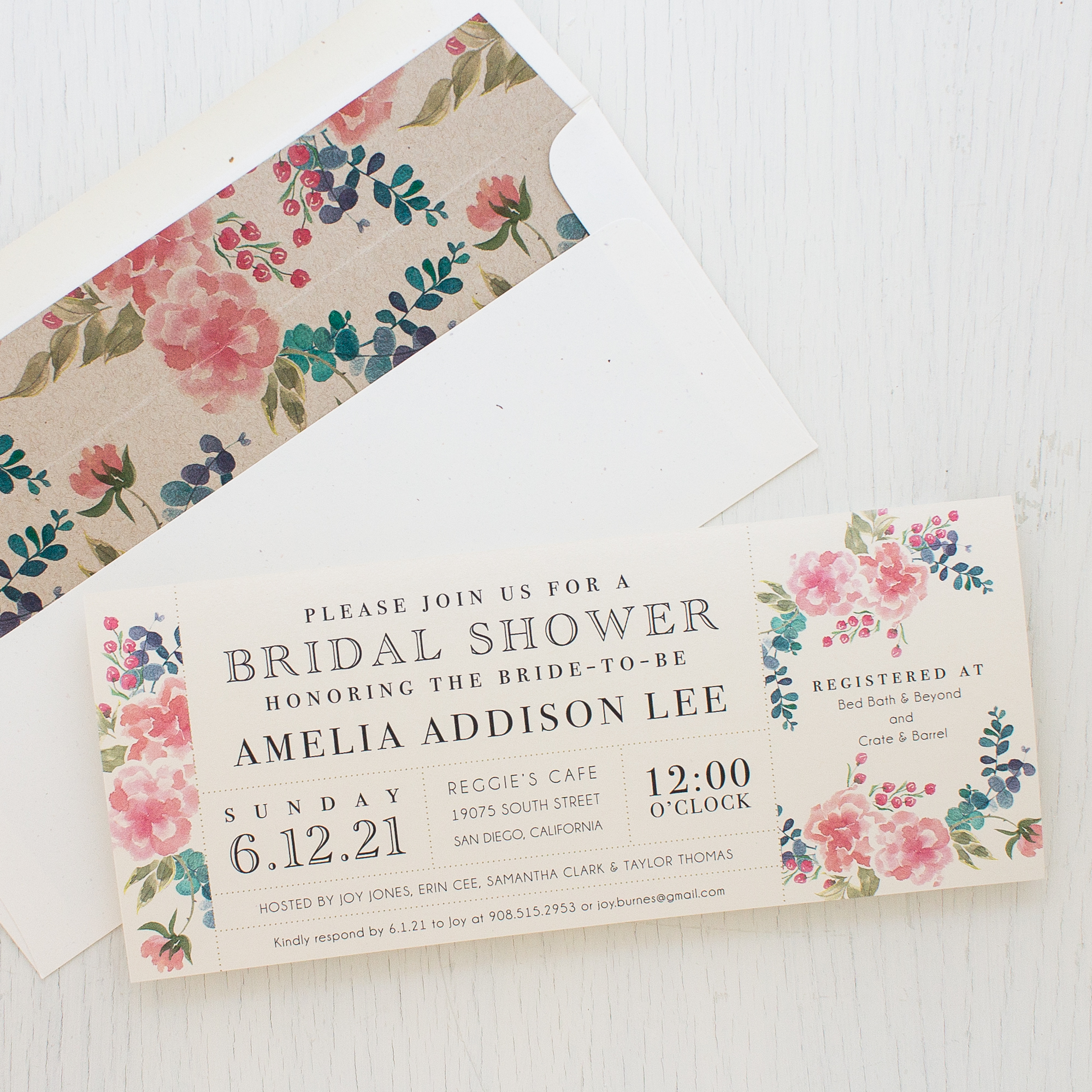 Spring floral bridal shower invitations beacon lane spring floral bridal shower invitations filmwisefo