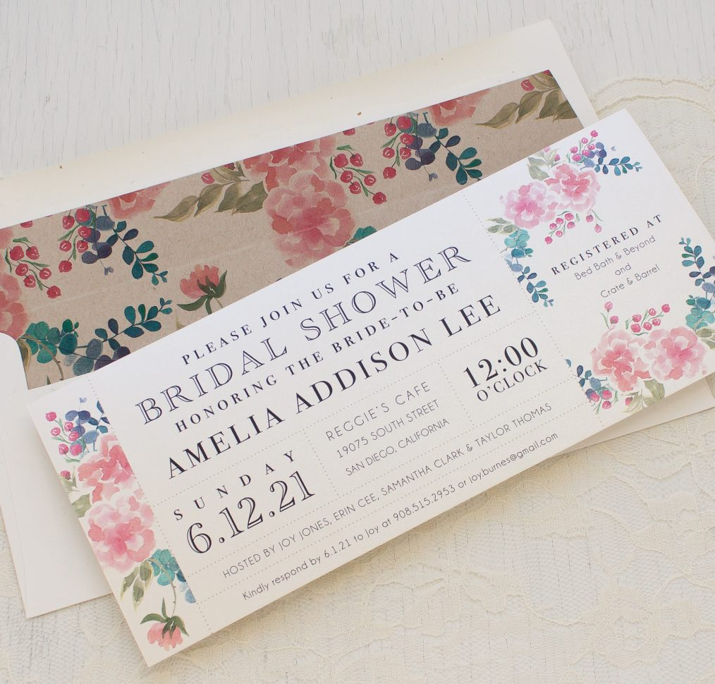 Spring Floral Bridal Shower Invitations