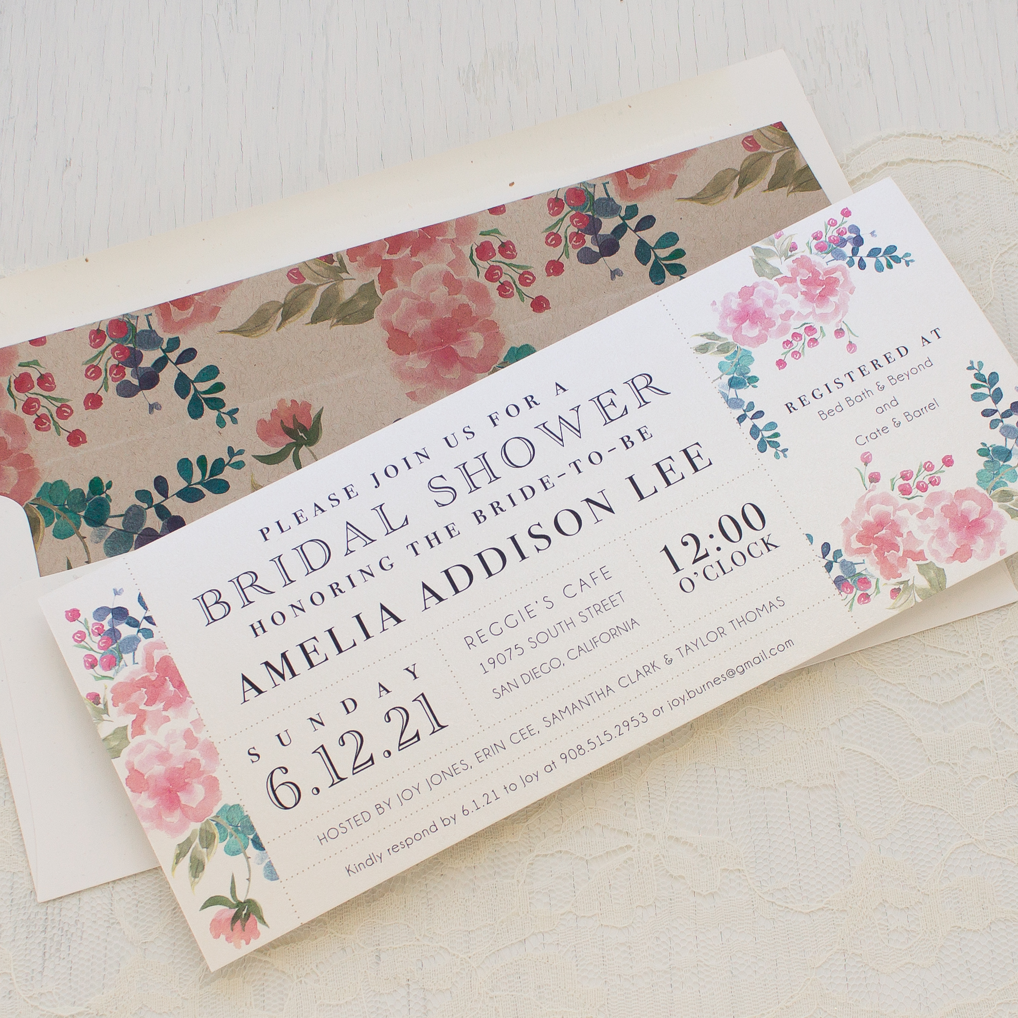 Spring Floral Bridal Shower Invitations Beacon Lane