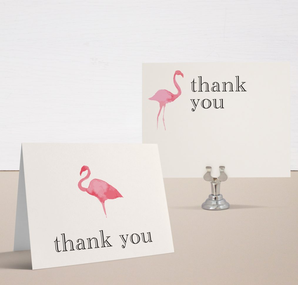 Striped Flamingo Bridal Shower Thank You Card