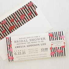 Striped Flamingo Bridal Shower Invitation