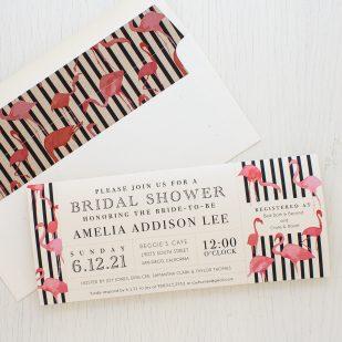 Striped Flamingo Bridal Shower Invitations