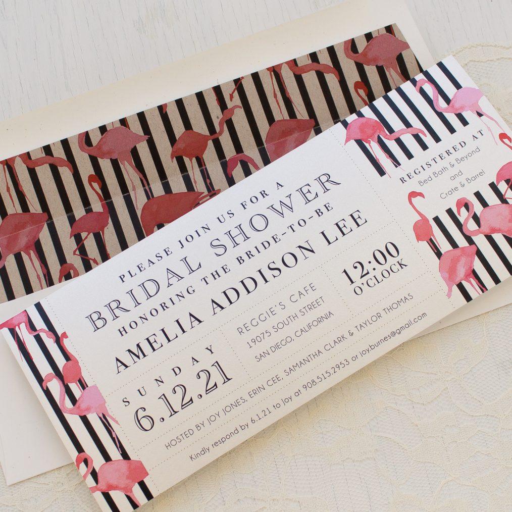 Striped Flamingo Bridal Shower Invitation