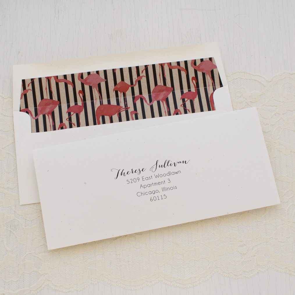 Striped Flamingo themed Bridal Shower Invitation