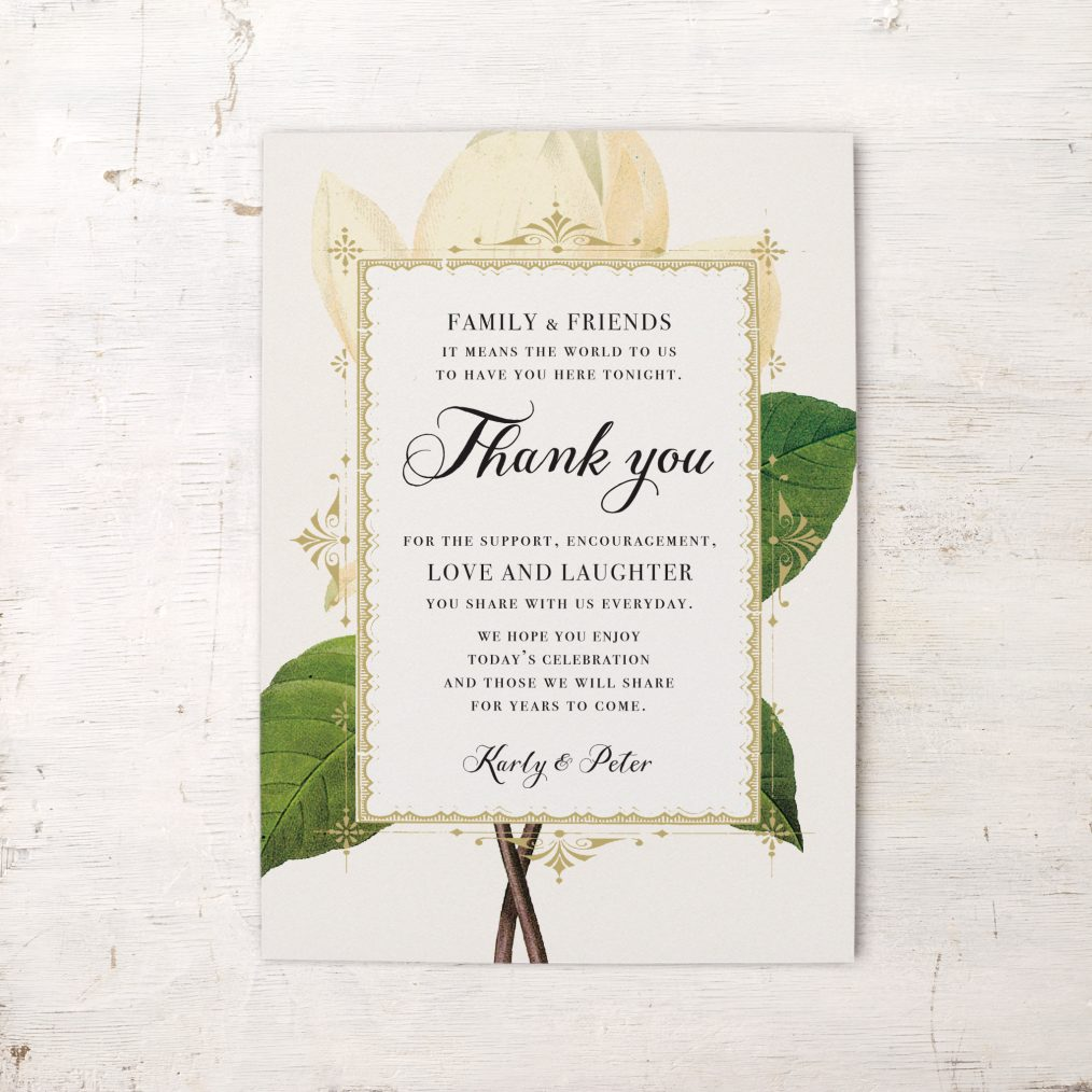 Sweet Magnolia Reception Thank Yous