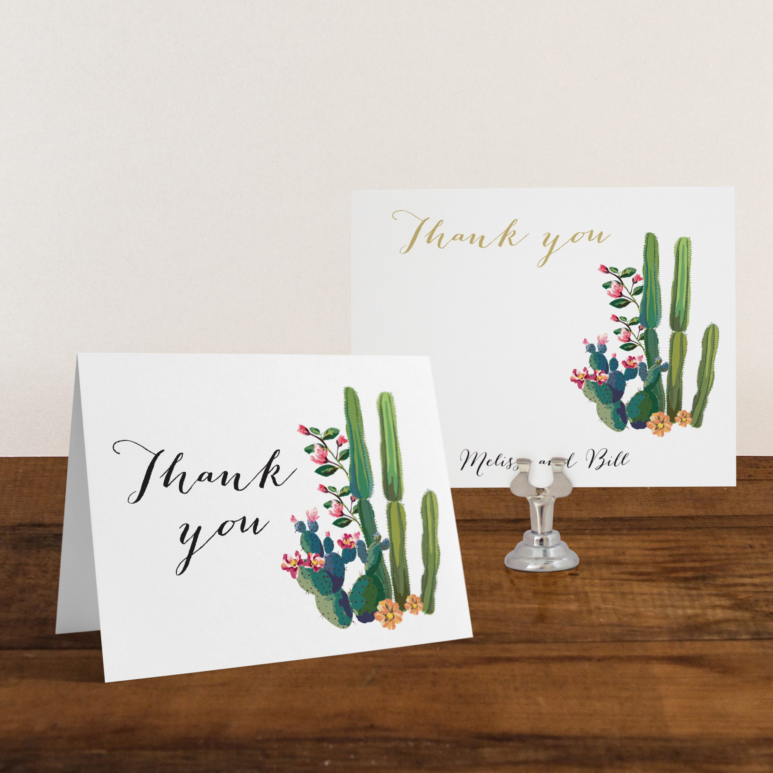 Personalized Thank You Card Folded Thank You Cards with Envelopes Pink and Navy Thank You Cards DEPOSIT