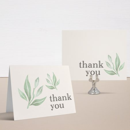 Watercolor Leaves Bridal Shower Thank You Cards