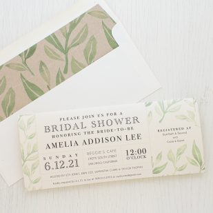 Watercolor Leaves Bridal Shower Invitations