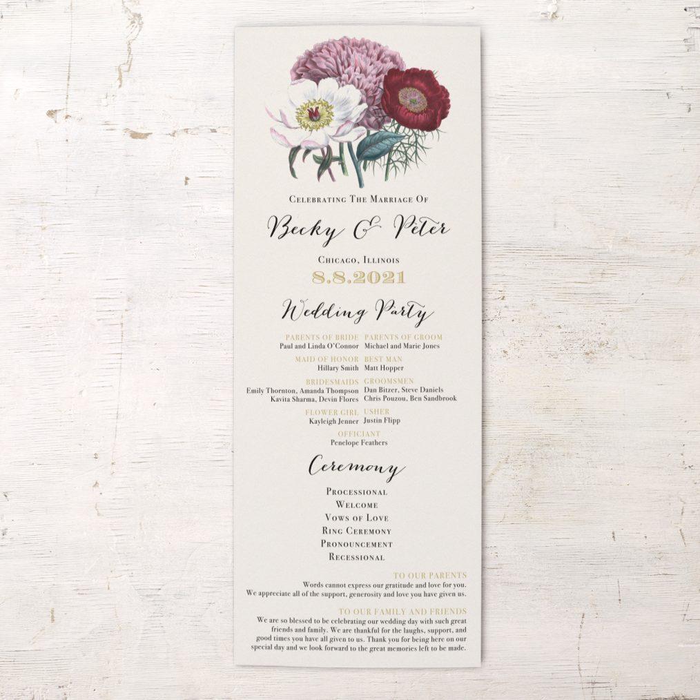 Floral Boho Flat Ceremony Programs