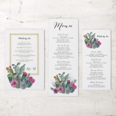 Desert Blooms Flat Menu Cards