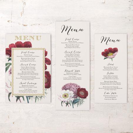 Floral Boho Flat Menu Cards