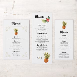 Pineapple Paradise Flat Menu Cards