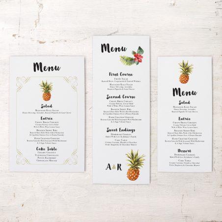 Pineapple Paradise Flat Menu Cards
