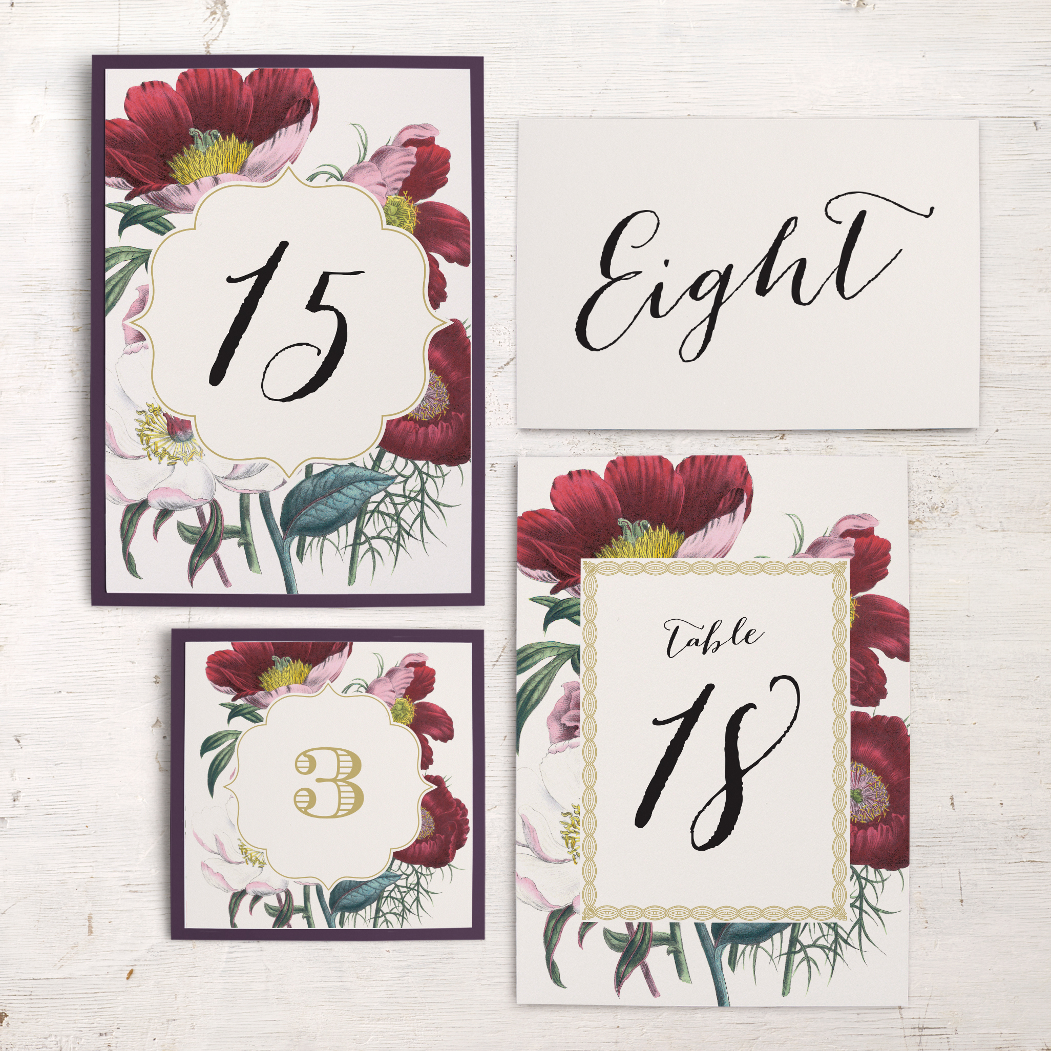 Floral Boho Flat Table Numbers
