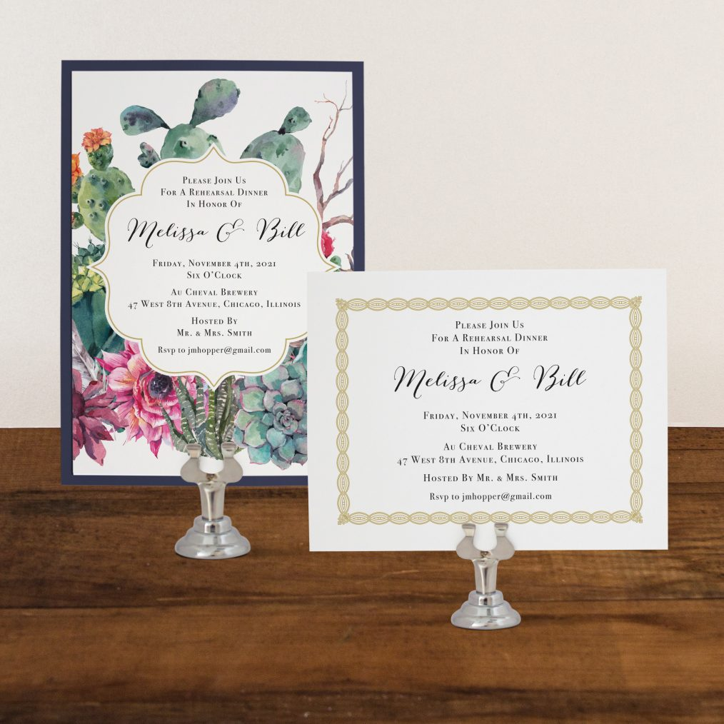 Desert Blooms Rehearsal Invitations
