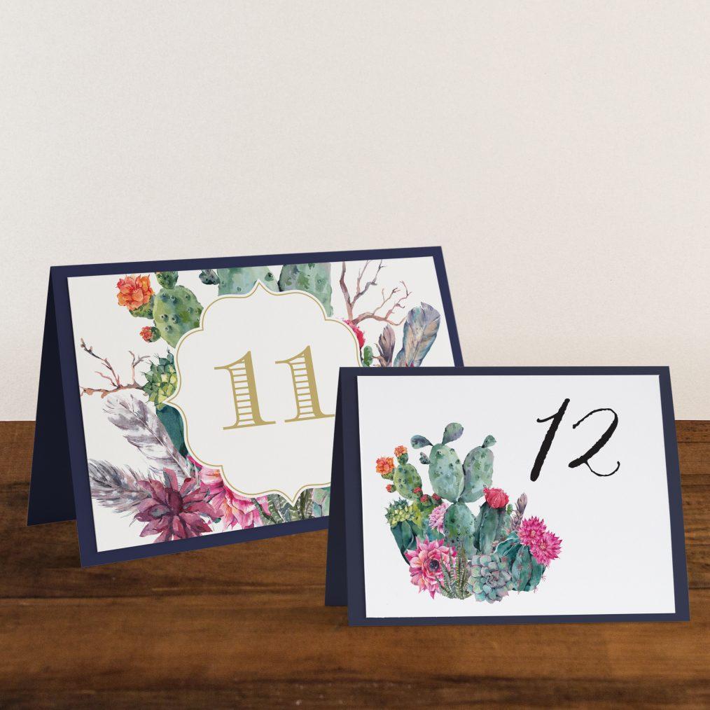 Desert Blooms Tented Table Numbers