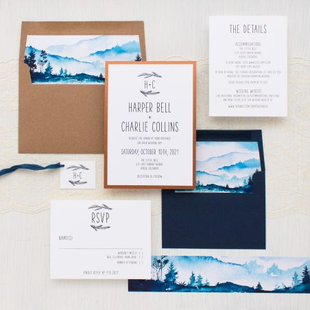 Watercolor Mountain Wedding Invitations